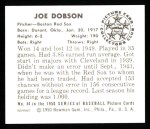 1950 Bowman REPRINT #44  Joe Dobson  Back Thumbnail