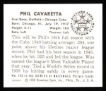 1950 Bowman REPRINT #195  Phil Cavarretta  Back Thumbnail