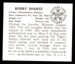1950 Bowman REPRINT #234  Bobby Shantz  Back Thumbnail