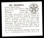 1950 Bowman REPRINT #56  Del Crandall  Back Thumbnail