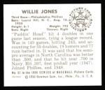 1950 Bowman REPRINT #67  Willie Jones  Back Thumbnail