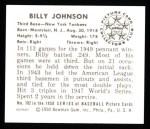 1950 Bowman REPRINT #102  Billy Johnson  Back Thumbnail