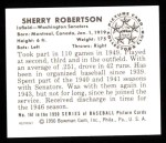 1950 Bowman REPRINT #161  Sherry Robertson  Back Thumbnail