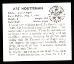 1950 Bowman REPRINT #42  Art Houtteman  Back Thumbnail