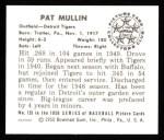 1950 Bowman REPRINT #135  Pat Mullin  Back Thumbnail