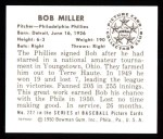 1950 Bowman REPRINT #227  Bob Miller  Back Thumbnail