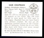 1950 Bowman REPRINT #104  Sam Chapman  Back Thumbnail