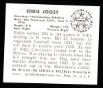 1950 Bowman REPRINT #103  Eddie Joost  Back Thumbnail