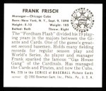 1950 Bowman REPRINT #229  Frankie Frisch   Back Thumbnail