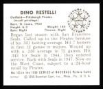1950 Bowman REPRINT #123  Dino Restelli  Back Thumbnail
