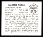 1950 Bowman REPRINT #136  Buddy Rosar  Back Thumbnail