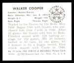 1950 Bowman REPRINT #111  Walker Cooper  Back Thumbnail