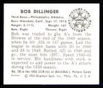 1950 Bowman REPRINT #105  Bob Dillinger  Back Thumbnail