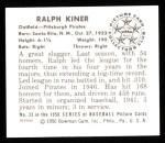 1950 Bowman REPRINT #33  Ralph Kiner  Back Thumbnail