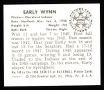 1950 Bowman Reprints #148  Early Wynn  Back Thumbnail