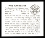1950 Bowman Reprints #195  Phil Cavarretta  Back Thumbnail