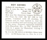 1950 Bowman REPRINT #16  Roy Sievers  Back Thumbnail