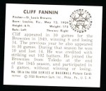 1950 Bowman REPRINT #106  Cliff Fannin  Back Thumbnail