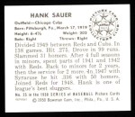 1950 Bowman REPRINT #25  Hank Sauer  Back Thumbnail