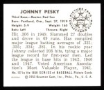 1950 Bowman REPRINT #137  Johnny Pesky  Back Thumbnail