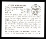 1950 Bowman REPRINT #202  Cliff Chambers  Back Thumbnail