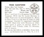 1950 Bowman REPRINT #156  Fred Sanford  Back Thumbnail