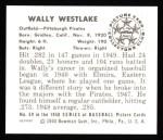1950 Bowman REPRINT #69  Wally Westlake  Back Thumbnail
