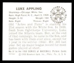 1950 Bowman REPRINT #37  Luke Appling  Back Thumbnail