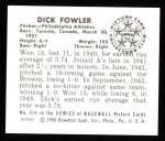 1950 Bowman REPRINT #214  Dick Fowler  Back Thumbnail