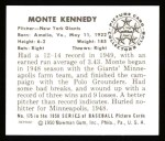 1950 Bowman REPRINT #175  Monte Kennedy  Back Thumbnail