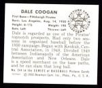 1950 Bowman REPRINT #244  Dale Coogan  Back Thumbnail