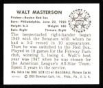 1950 Bowman REPRINT #153  Walt Masterson  Back Thumbnail