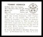 1950 Bowman REPRINT #10  Tommy Henrich  Back Thumbnail
