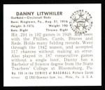 1950 Bowman REPRINT #198  Danny Litwhiler  Back Thumbnail