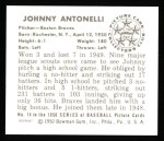 1950 Bowman REPRINT #74  Johnny Antonelli  Back Thumbnail