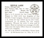 1950 Bowman Reprints #196  Doyle Lade  Back Thumbnail