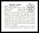 1950 Bowman REPRINT #196  Doyle Lade  Back Thumbnail