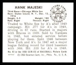 1950 Bowman REPRINT #92  Hank Majeski  Back Thumbnail