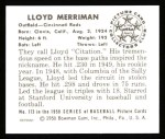 1950 Bowman REPRINT #173  Lloyd Merriman  Back Thumbnail