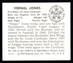 1950 Bowman REPRINT #238  Vernal 'Nippy' Jones  Back Thumbnail