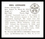 1950 Bowman REPRINT #170  Dutch Leonard  Back Thumbnail