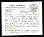 1950 Bowman REPRINT #143  Eddie Stewart  Back Thumbnail