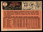 1966 Topps #207  Frank Quilici  Back Thumbnail
