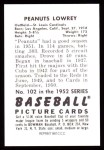 1952 Bowman REPRINT #102  Peanuts Lowrey  Back Thumbnail