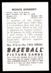 1952 Bowman REPRINT #213  Monte Kennedy  Back Thumbnail