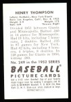 1952 Bowman REPRINT #249  Hank Thompson  Back Thumbnail