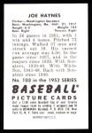 1952 Bowman REPRINT #103  Joe Haynes  Back Thumbnail