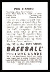 1952 Bowman REPRINT #52  Phil Rizzuto  Back Thumbnail