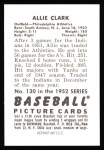 1952 Bowman REPRINT #130  Allie Clark  Back Thumbnail