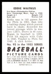 1952 Bowman REPRINT #92  Eddie Waitkus  Back Thumbnail